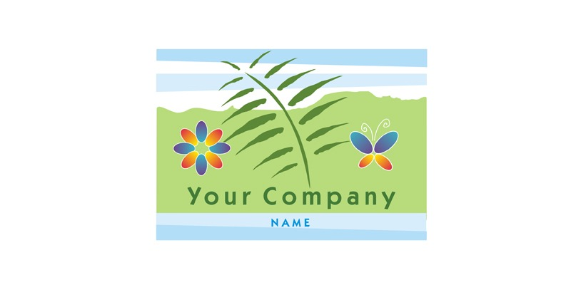 Logo for Sale with an environmental green element includes landscape flowers and butterfly.
